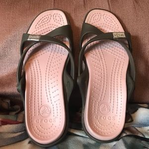 Crocs sandals cotton candy pink & chocolate size 8